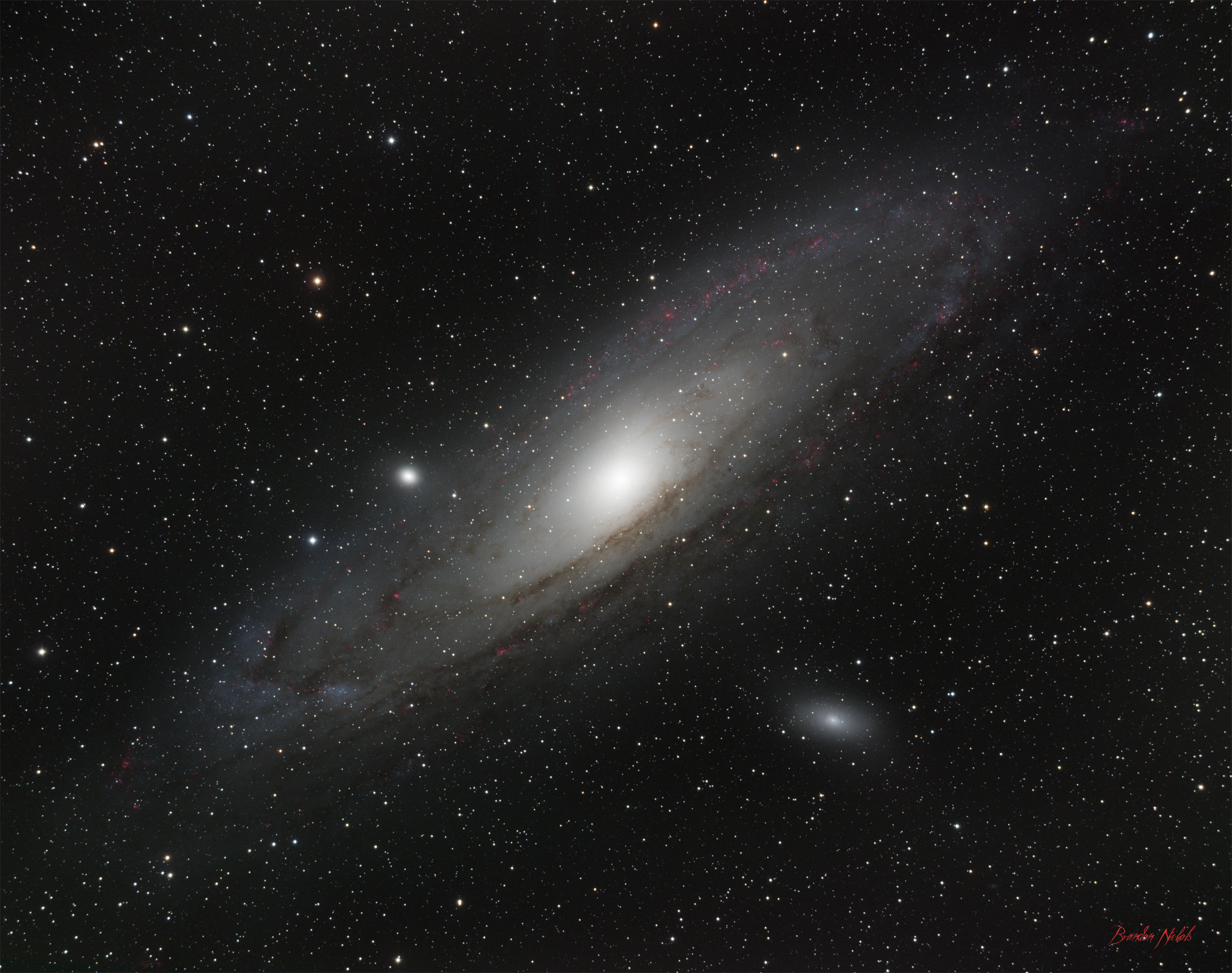 Andromeda Galaxy - Added Ha - Very Little Processing