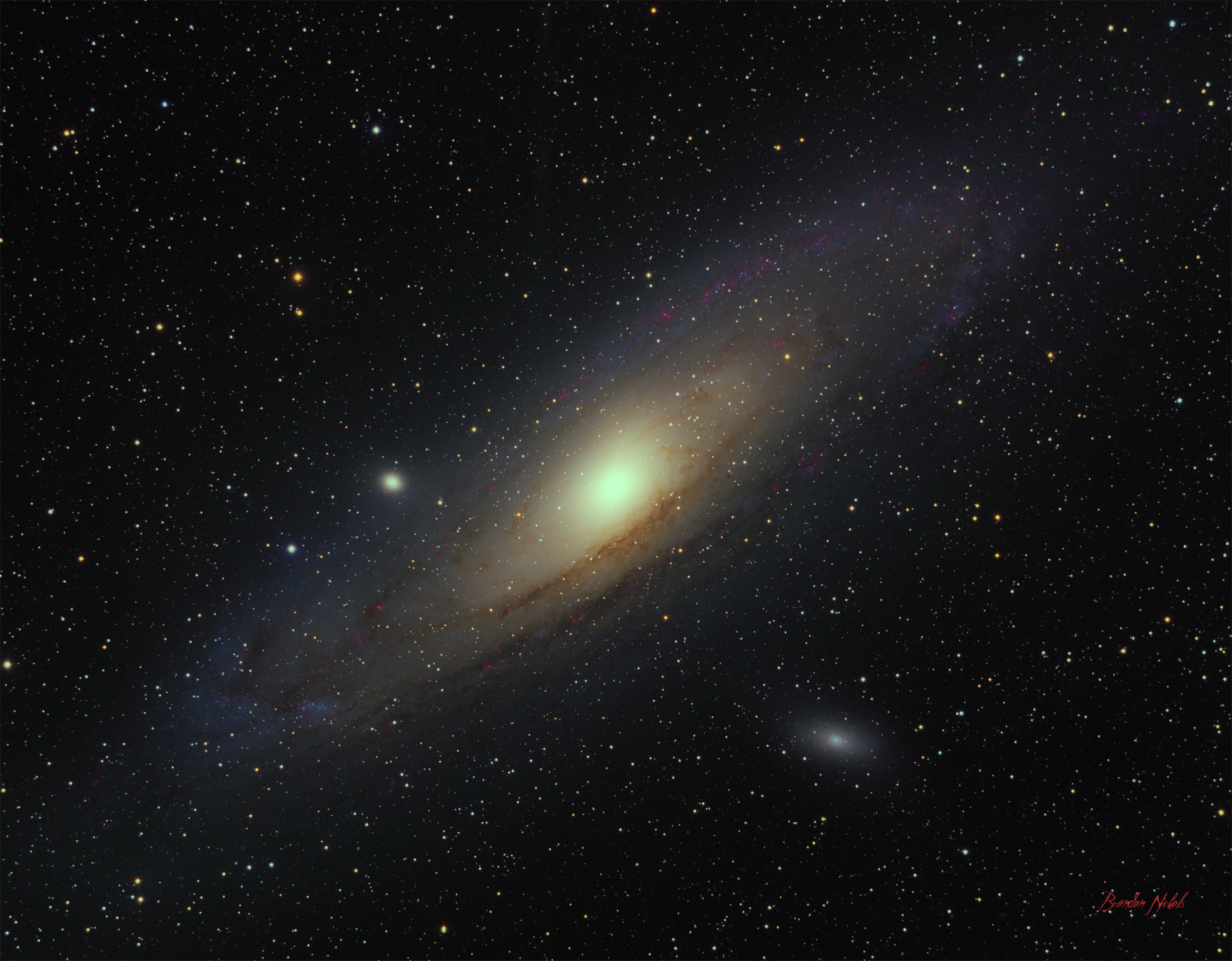 Andromeda Galaxy - Added Ha - Getting Some Color